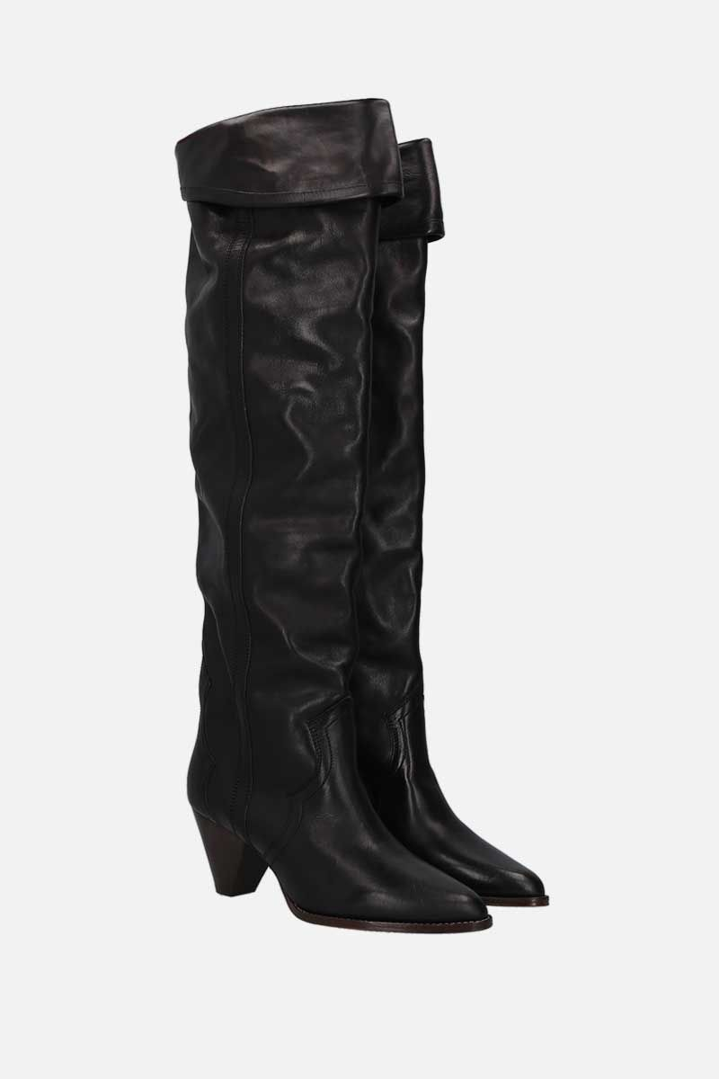 ISABEL MARANT: Remko shiny leather over-the-knee boots Color Black_2