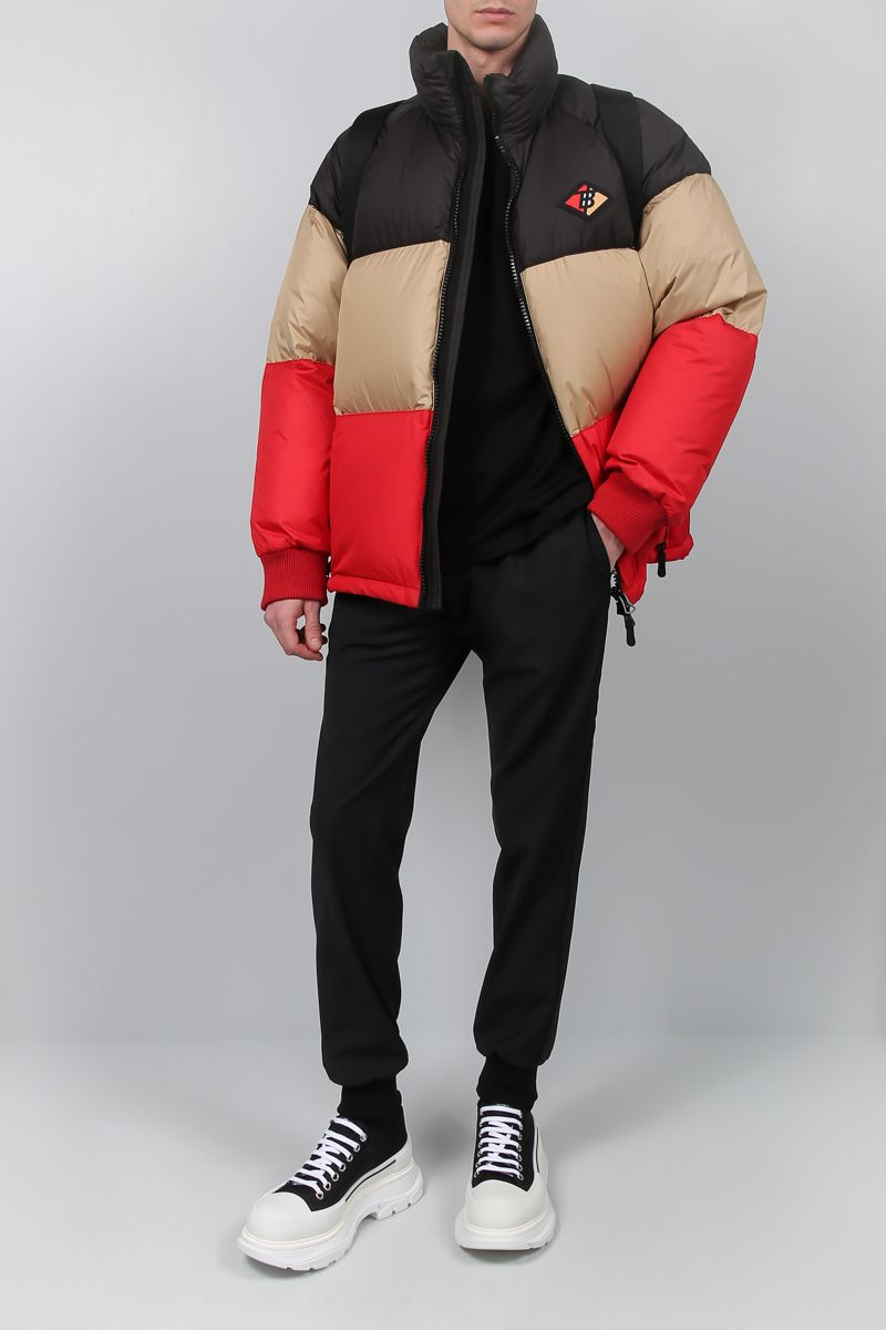BURBERRY: Branston down jacket in colour-block nylon Color Black_2