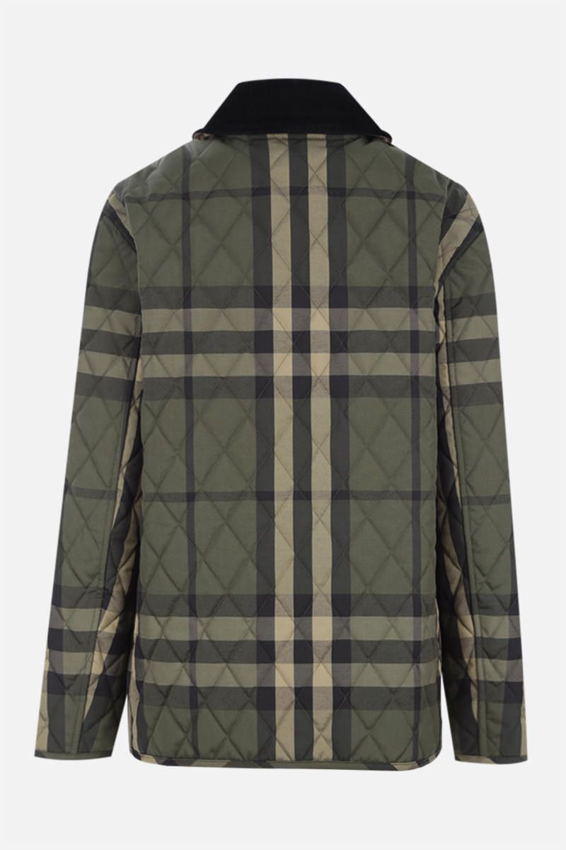 BURBERRY: check wool blend quilted jacket Color Green_2