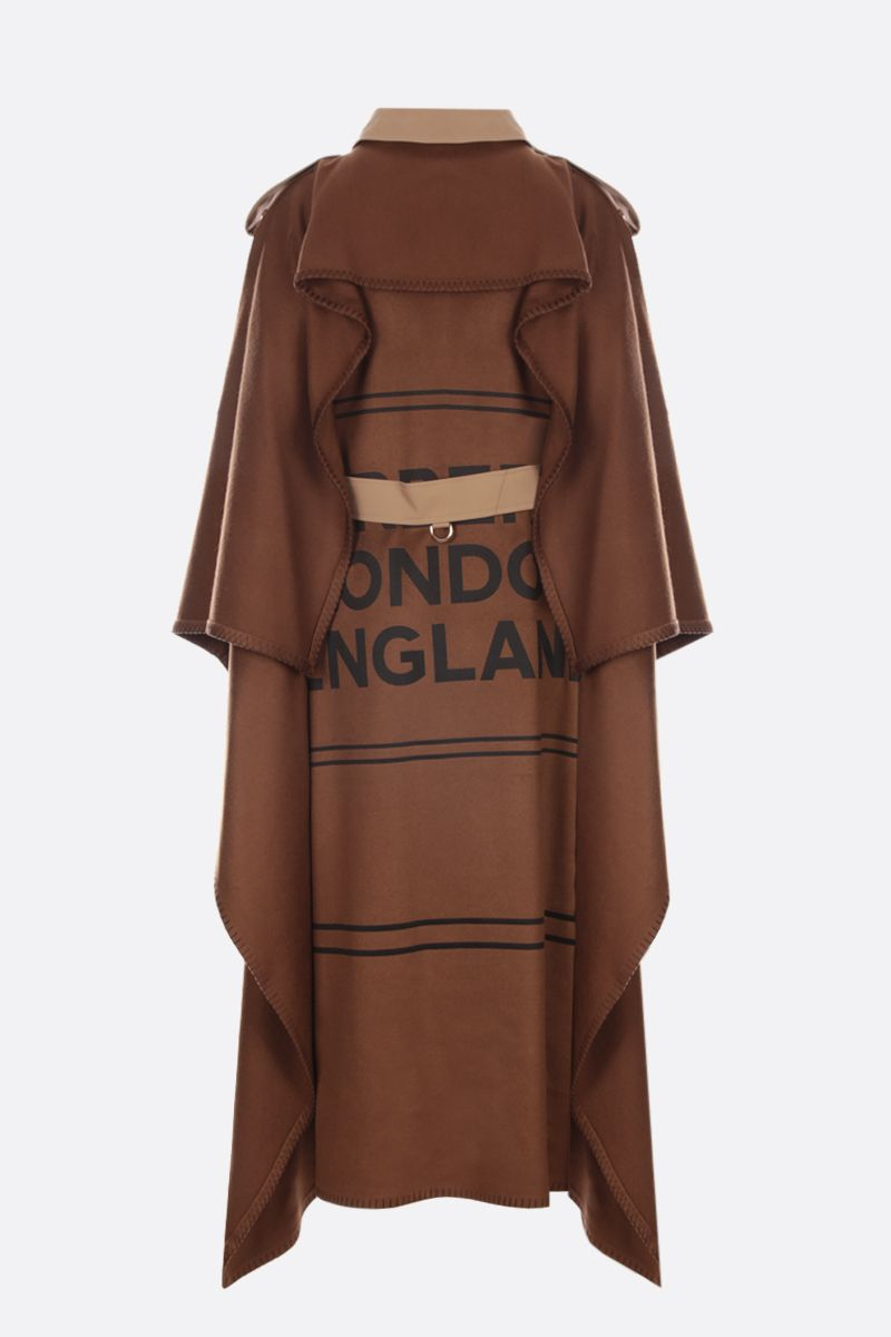 BURBERRY: gabardine double-breasted trench coat with cashmere cape Color Neutral_2