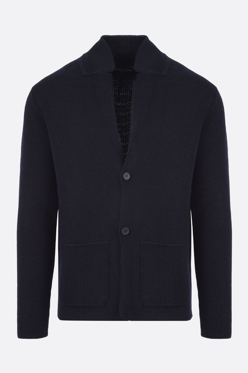 ROBERTO COLLINA: merino wool cardigan Color Blue_1