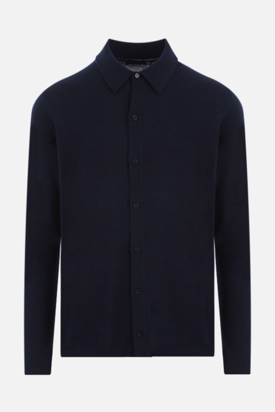ROBERTO COLLINA: pointed collar cotton cardigan Color Blue_1