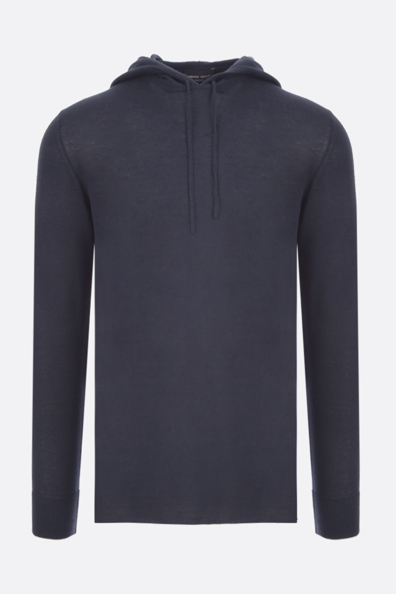 ROBERTO COLLINA: cashmere blend hooded pullover Color Blue_1
