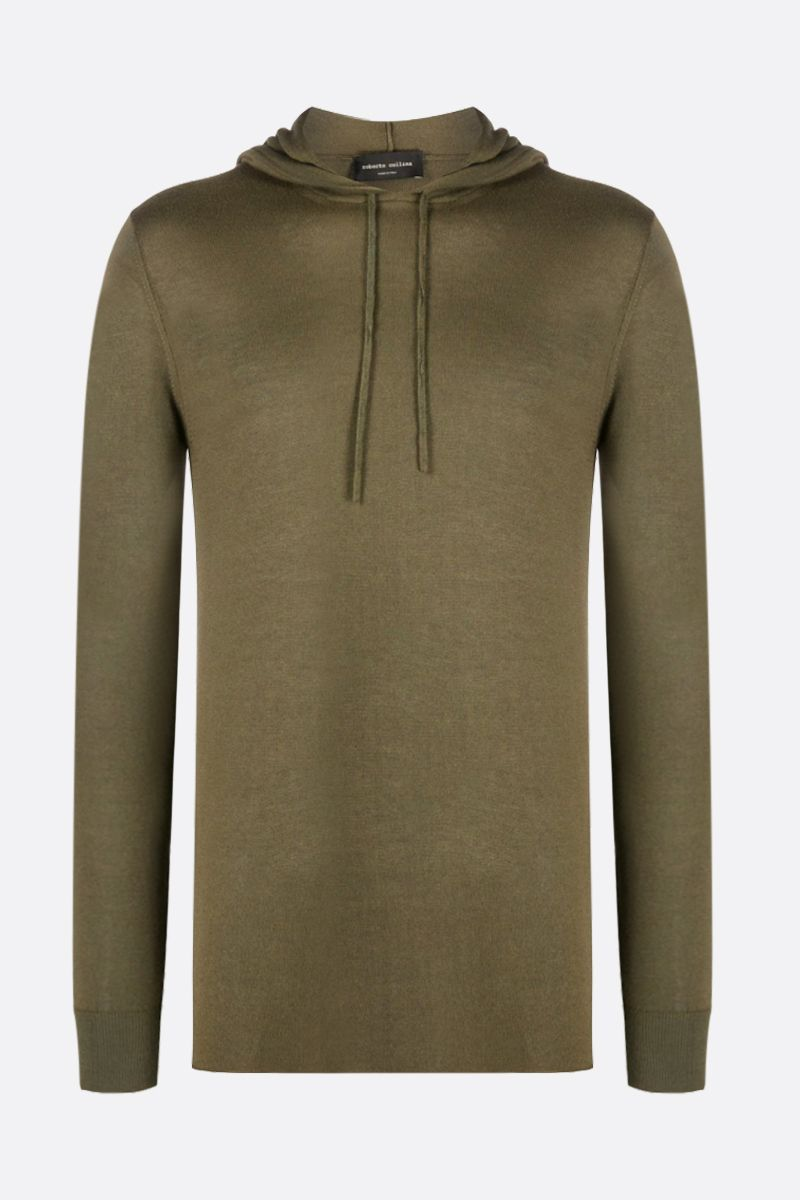 ROBERTO COLLINA: cashmere blend hooded pullover Color Green_1