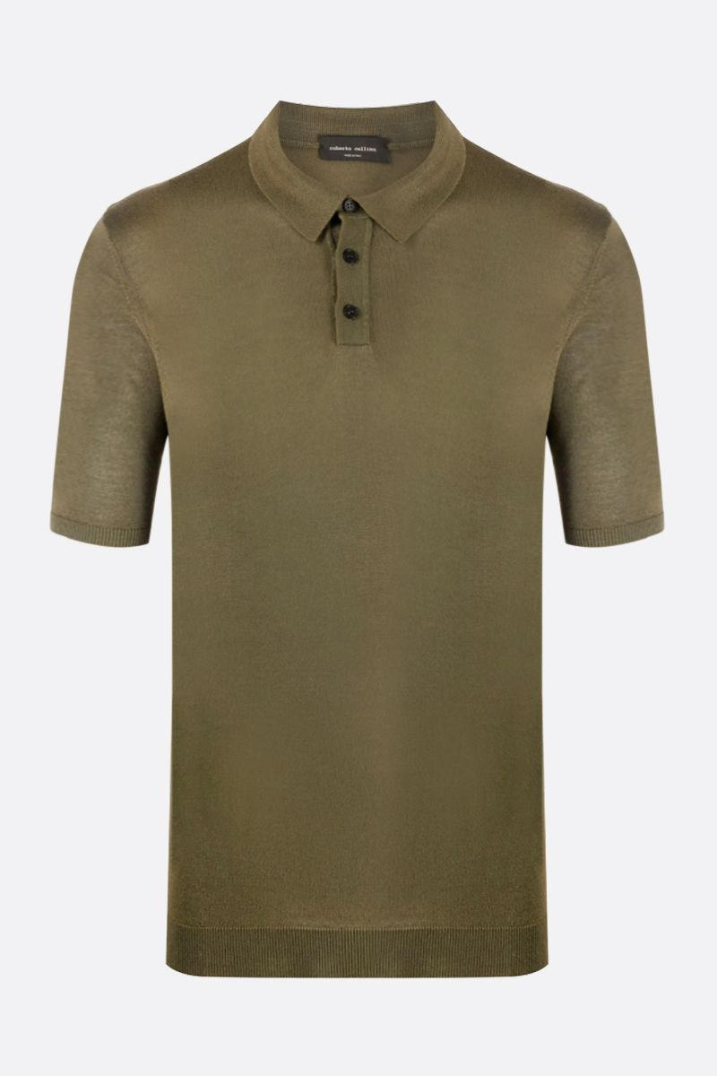 ROBERTO COLLINA: cashmere blend short-sleeved pullover Color Green_1