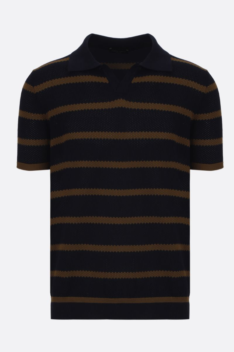 ROBERTO COLLINA: striped cotton short-sleeved pullover Color Blue_1