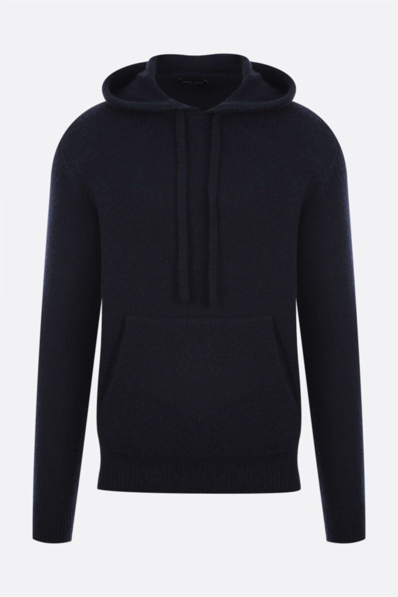 ROBERTO COLLINA: hooded wool blend pullover Color Blue_1