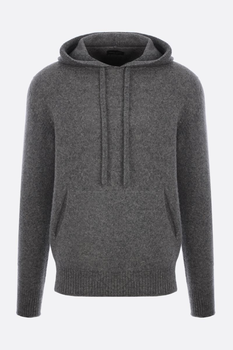 ROBERTO COLLINA: hooded wool blend pullover Color Grey_1