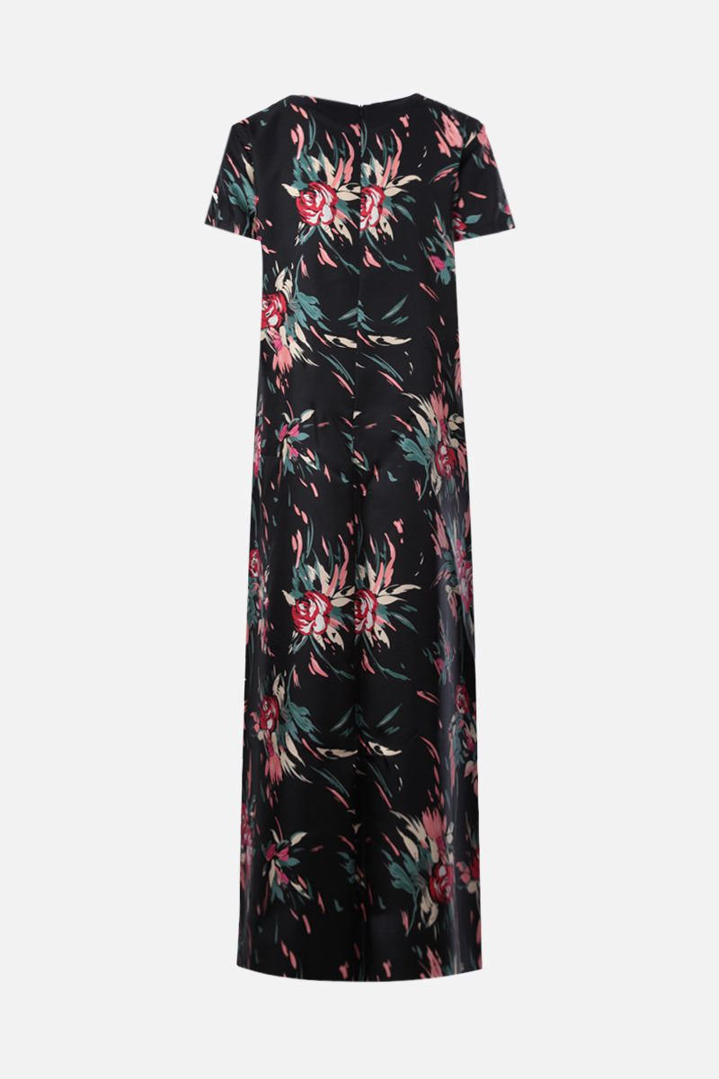 LA DOUBLE J: floral print silk long dress Color Black_2