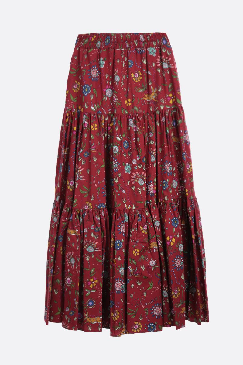 LA DOUBLE J: Babe print cotton flounced skirt Color Red_2