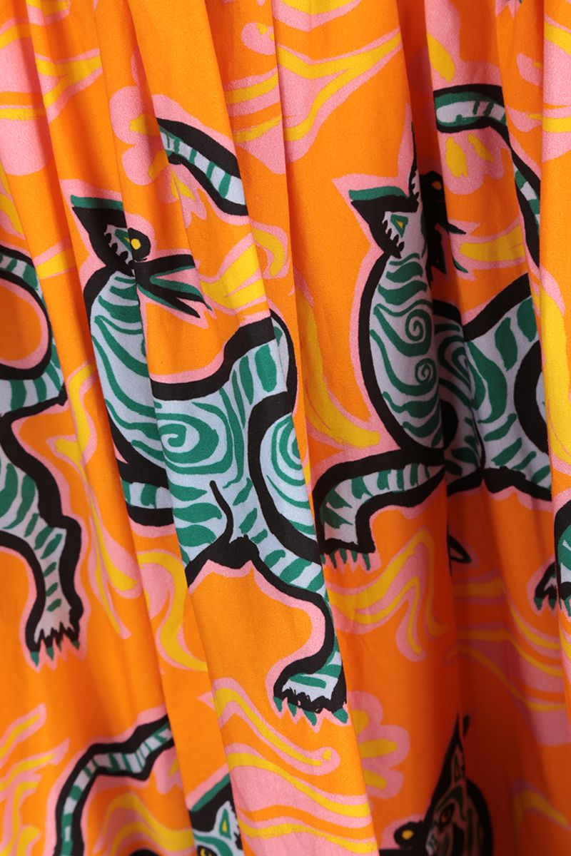 LA DOUBLE J: gonna a balze in cotone stampa Crazy Tigers Colore Yellow_3