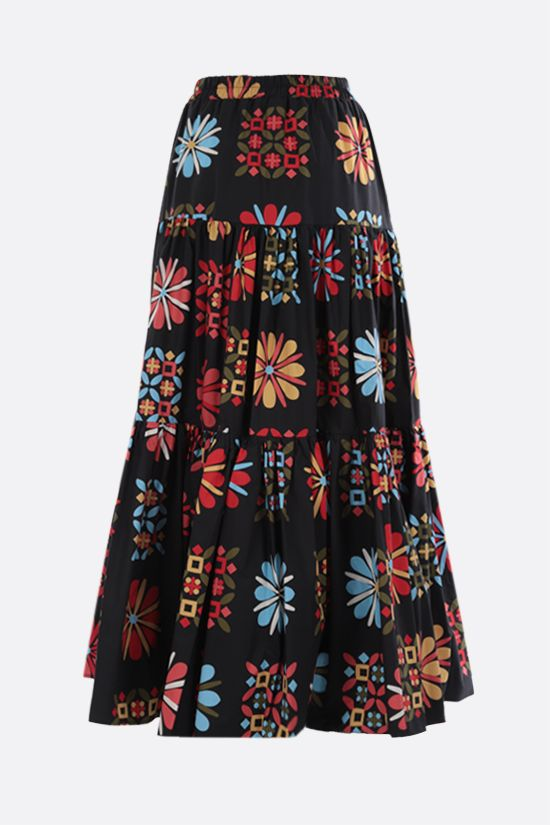 LA DOUBLE J: Vetrata Grande print cotton flounced skirt Color Multicolor_2