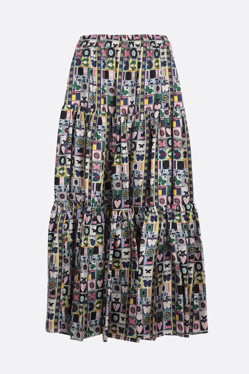 LA DOUBLE J: Francobollo print silk flounced skirt Color Multicolor_2