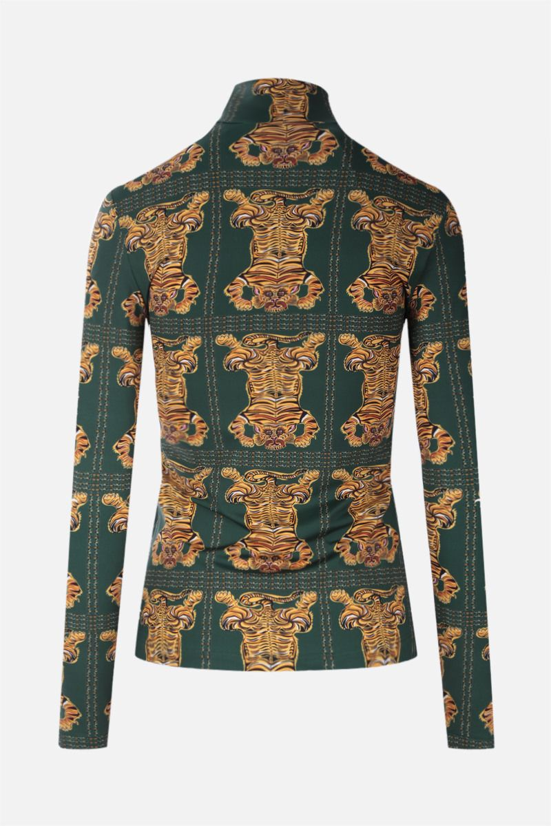 LA DOUBLE J: dolcevita in jersey stretch stampa Tiger Tiles Colore Green_2