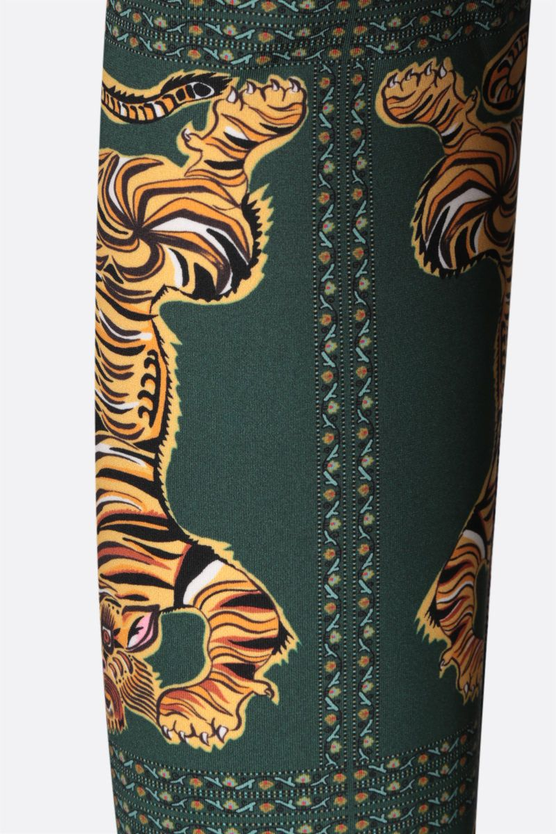LA DOUBLE J: dolcevita in jersey stretch stampa Tiger Tiles Colore Green_3