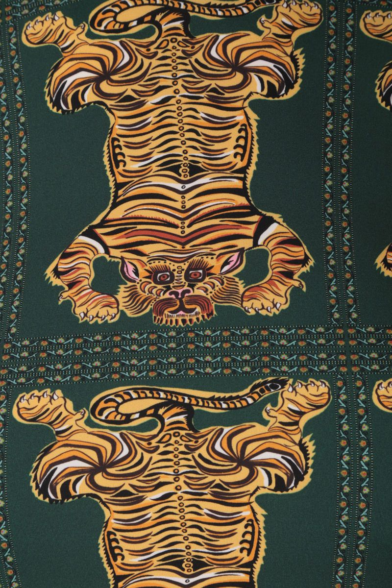LA DOUBLE J: dolcevita in jersey stretch stampa Tiger Tiles Colore Green_4