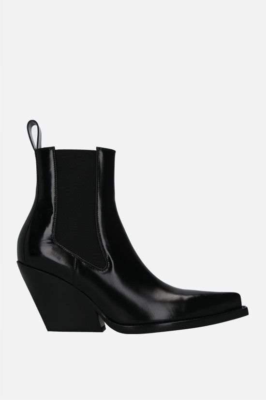 BOTTEGA VENETA: BV Lean shiny leather western boots Color Black_1