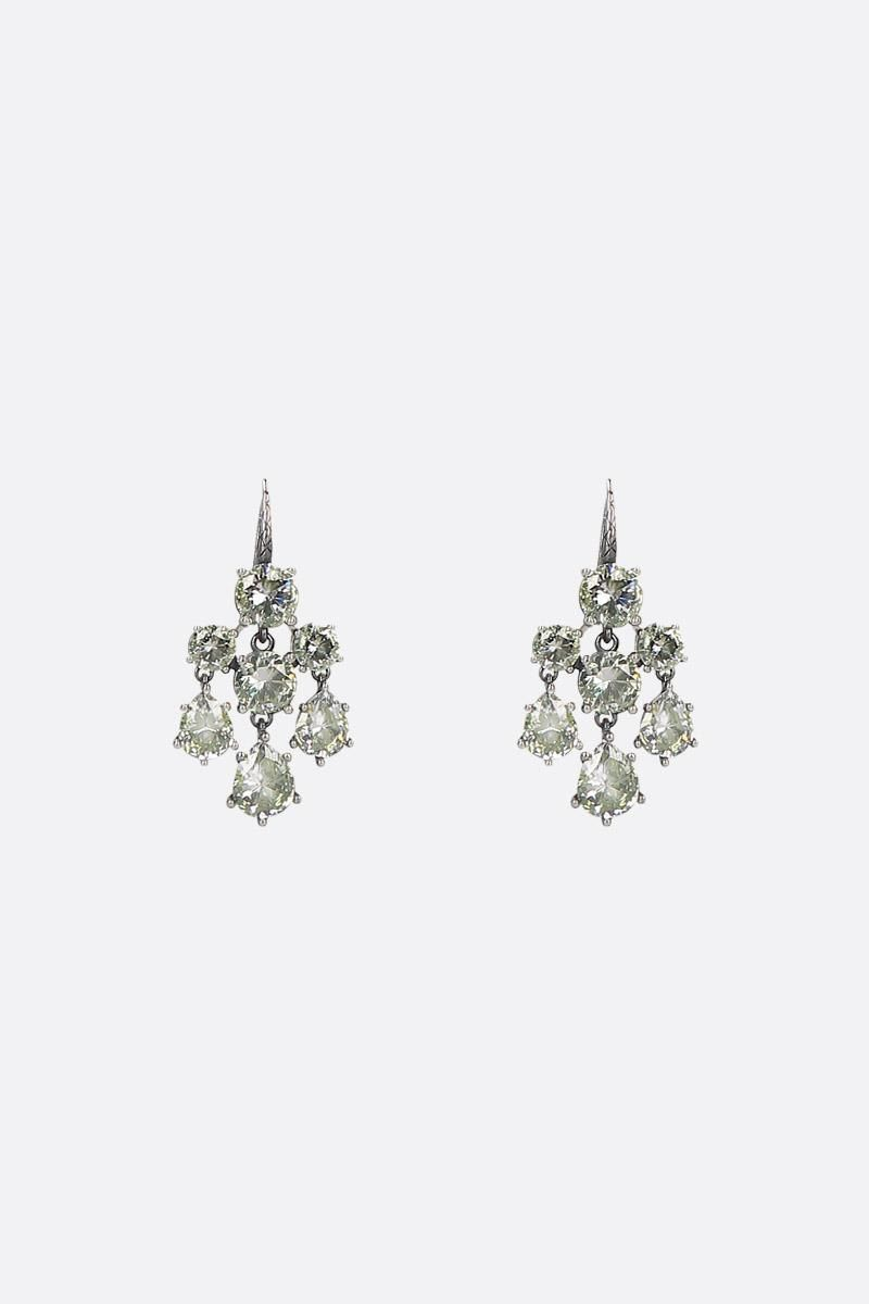 BOTTEGA VENETA: Cubic silver and zircons earrings Color Neutral_1