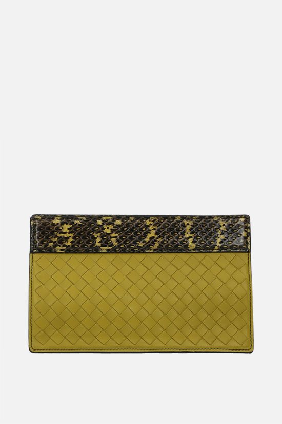 BOTTEGA VENETA: Intrecciato leather and snake leather clutch Color Green_1
