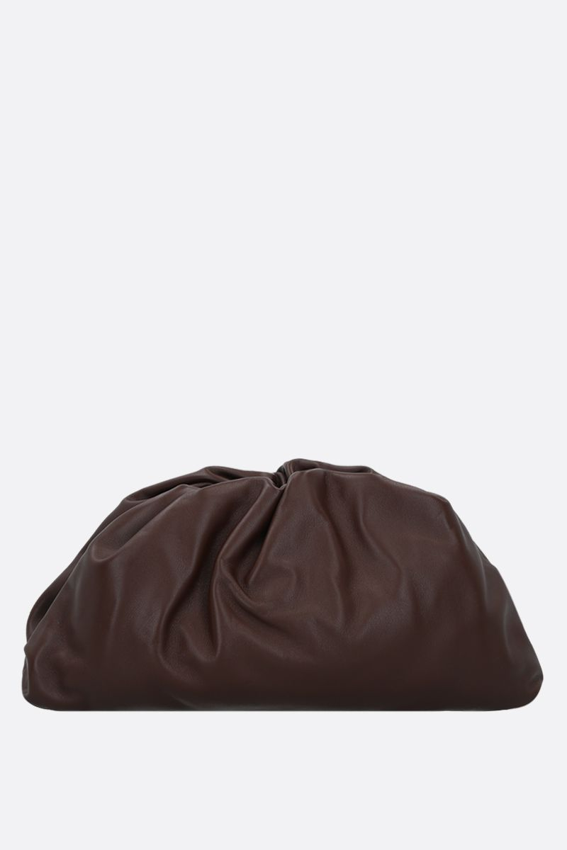 BOTTEGA VENETA: The Pouch smooth leather clutch Color Brown_1