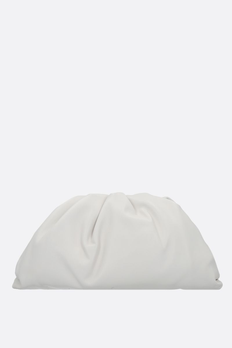 BOTTEGA VENETA: The Pouch smooth leather clutch Color White_1