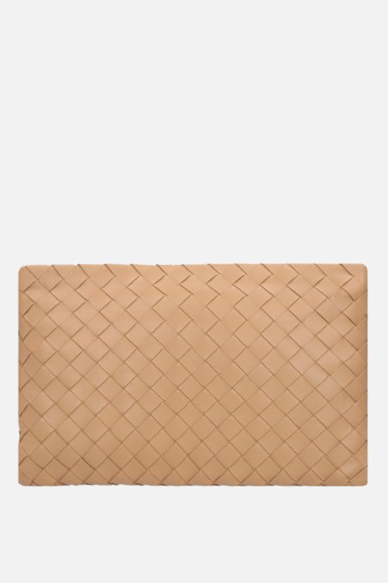 BOTTEGA VENETA: large Biletto pouch in Intrecciato nappa Color Neutral_1
