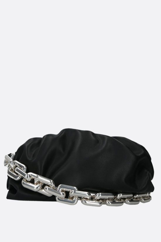 BOTTEGA VENETA: The Chain Pouch smooth leather clutch Color Black_1