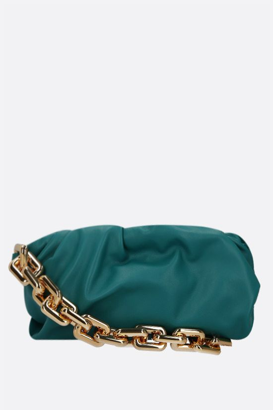 BOTTEGA VENETA: The Chain Pouch smooth leather clutch Color Blue_1