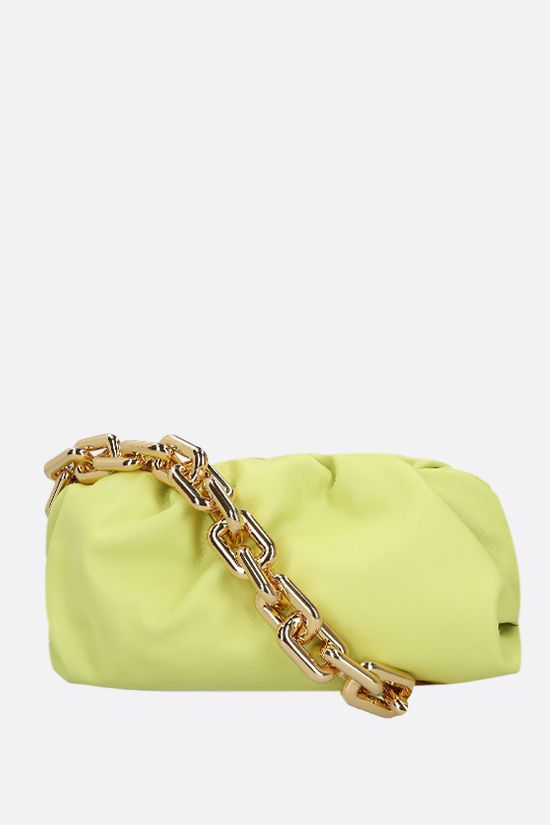 BOTTEGA VENETA: The Chain Pouch smooth leather clutch Color Green_1