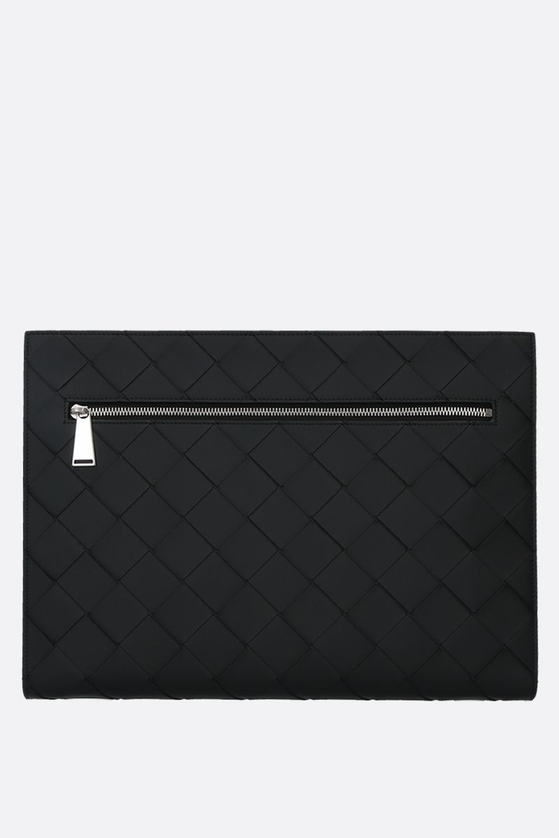 BOTTEGA VENETA: porta documenti zip-around in Intrecciato VN Colore Nero_1