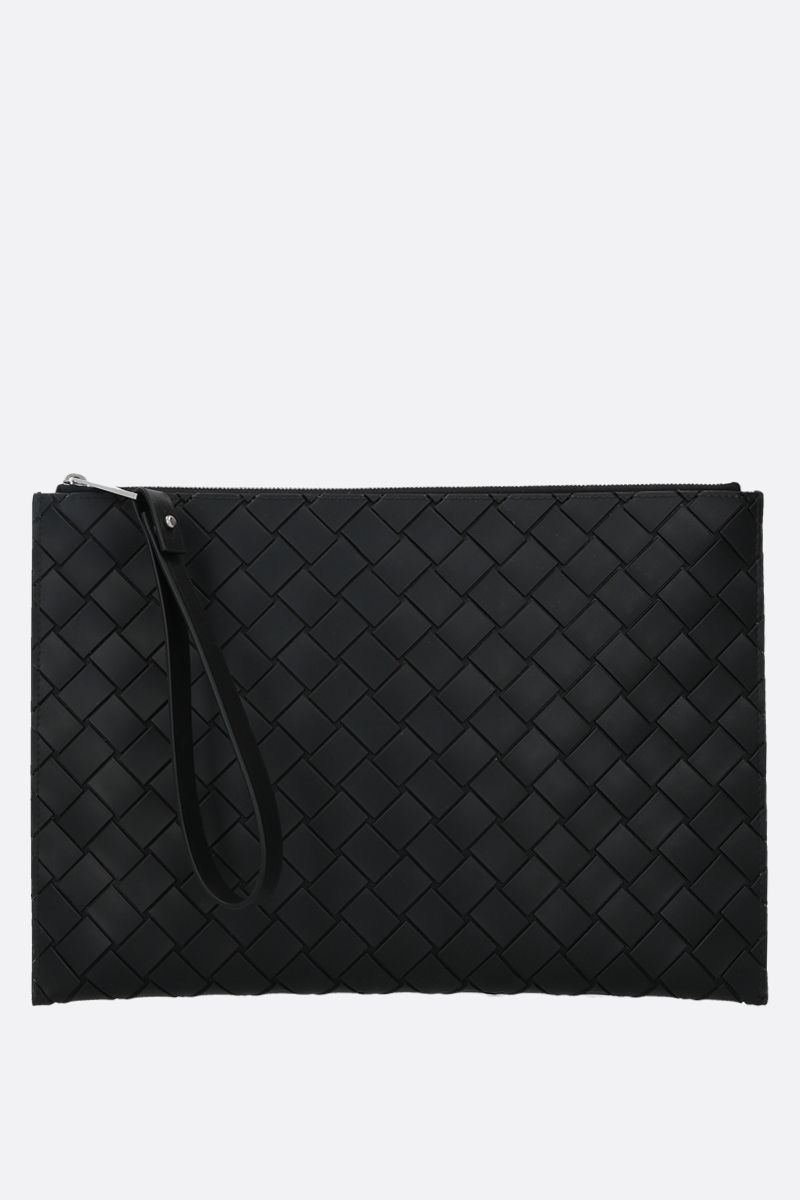 BOTTEGA VENETA: embossed Intrecciato medium clutch Color Black_1
