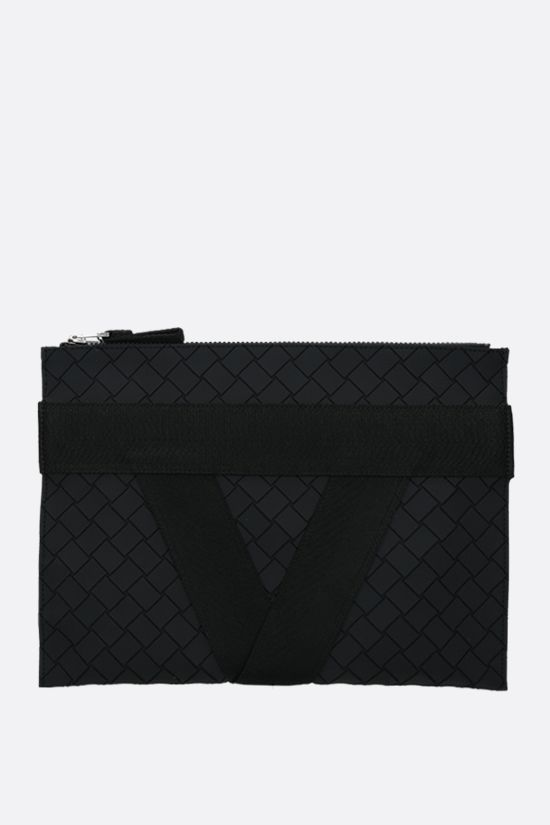BOTTEGA VENETA: Intrecciato-motif rubber and fabric document holder Color Black_1
