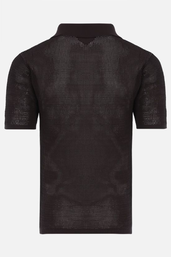 BOTTEGA VENETA: technical cotton mesh polo Color Brown_2