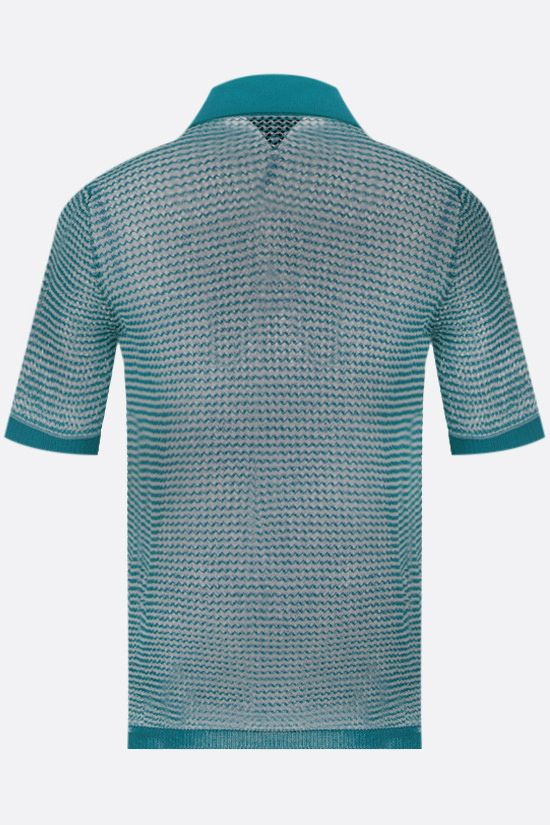BOTTEGA VENETA: compact cotton mesh polo shirt Color Multicolor_2