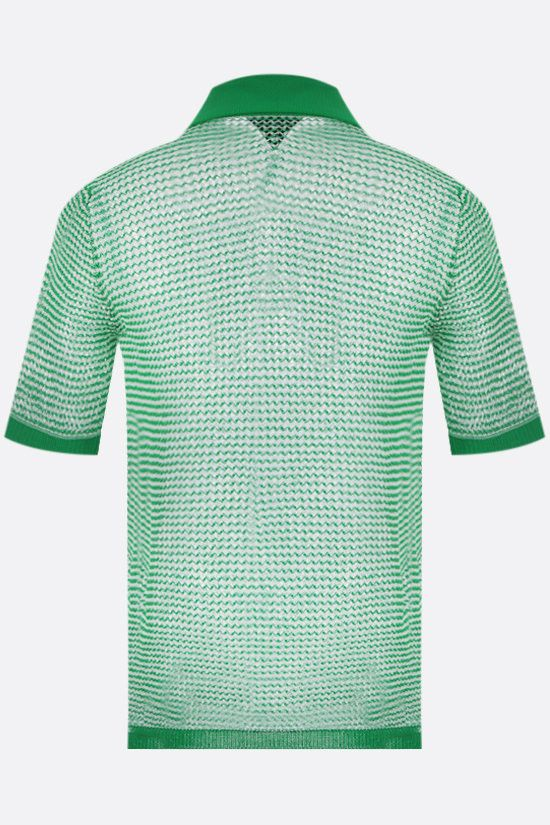 BOTTEGA VENETA: compact cotton mesh polo shirt Color Green_2