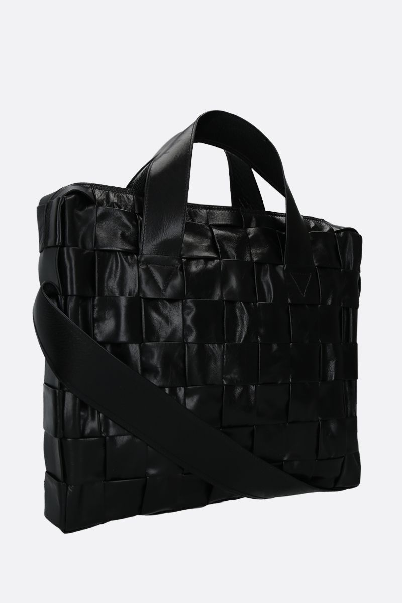 BOTTEGA VENETA: borsa tote The Cassette Case in Intrecciato Paper Calf Colore Nero_2