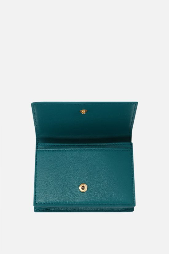 BOTTEGA VENETA: Intrecciato nappa flap card case Color Blue_2
