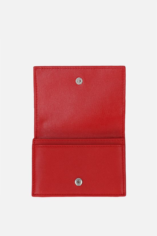 BOTTEGA VENETA: Intrecciato nappa flap card case Color Red_2
