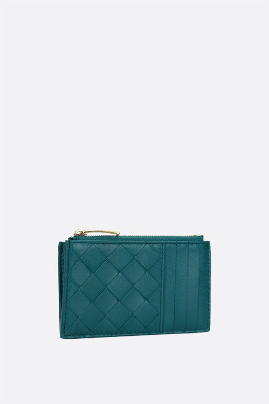 BOTTEGA VENETA: Intrecciato nappa zip card case Color Blue_2