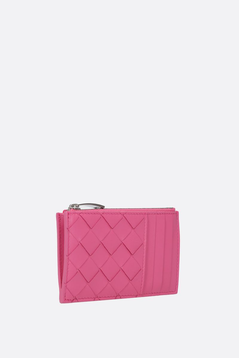 BOTTEGA VENETA: Intrecciato nappa zip card case Color Pink_2