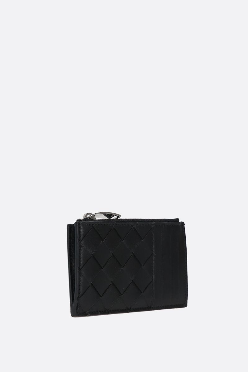 BOTTEGA VENETA: Intrecciato nappa zip card case Color Black_2