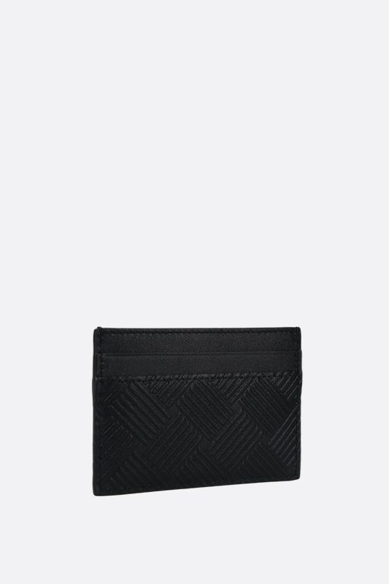 BOTTEGA VENETA: embossed leather card case Color Black_2