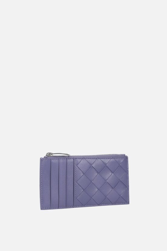 BOTTEGA VENETA: Intrecciato nappa zip card case Color Purple_2