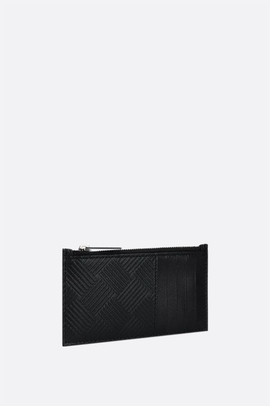 BOTTEGA VENETA: embossed leather zip card case Color Black_2