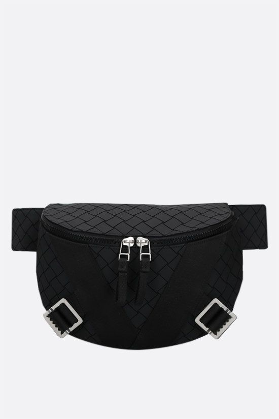 BOTTEGA VENETA: Intrecciato-motif rubber and fabric belt bag Color Black_1