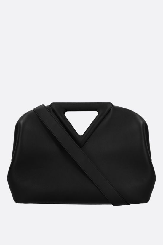 BOTTEGA VENETA: borsa a mano Point media in pelle liscia Colore Nero_1