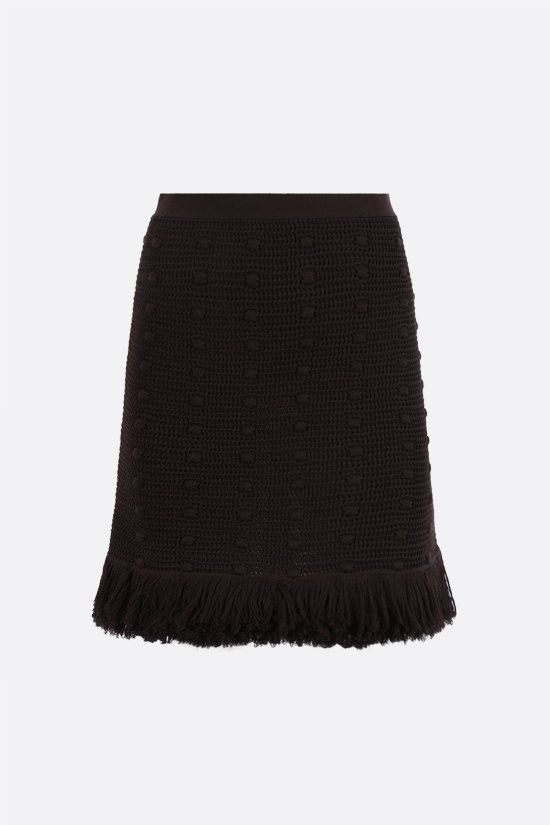 BOTTEGA VENETA: pompom-detailed cotton miniskirt Color Brown_1