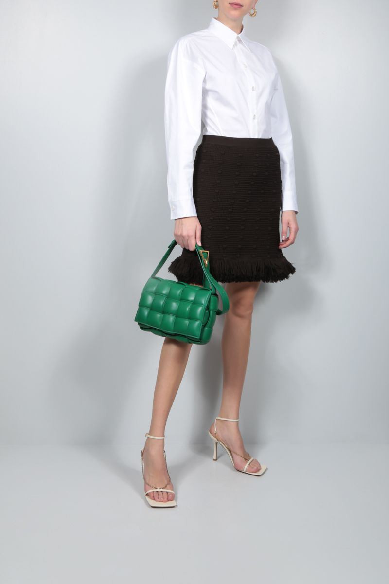 BOTTEGA VENETA: pompom-detailed cotton miniskirt Color Brown_2