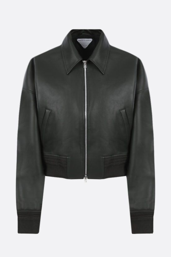 BOTTEGA VENETA: soft nappa cropped bomber jacket Color Green_1