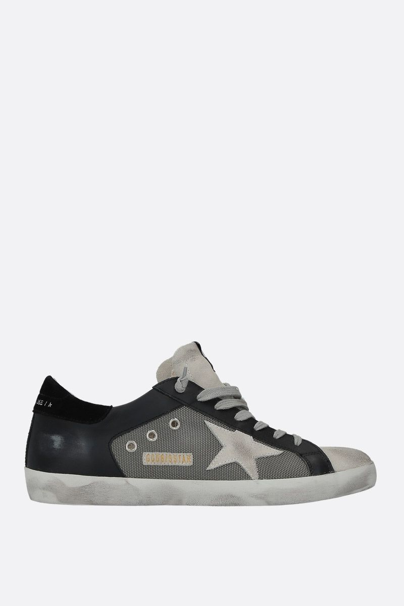 GOLDEN GOOSE DELUXE BRAND: Superstar sneakers in leather and mesh Color Black_1